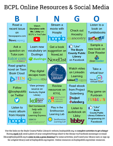Online Resources Bingo