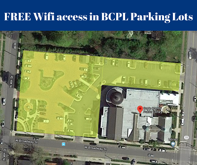 Boyle County Public Library map showing Wi-Fi access across the entire parking area.